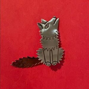 Sterling silver coyote pin